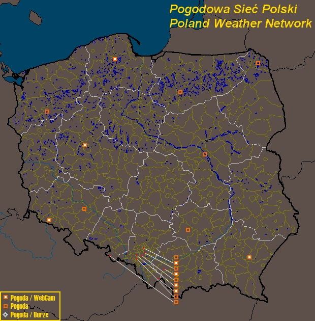 Mesomap of Poland Weather Network Stations